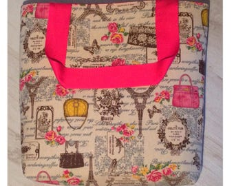 Handmade tote bag with pink lining and matching handles, magnetic clasp for closure. Made in Scotland.