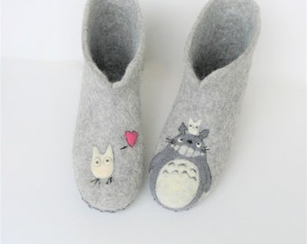 FELTED BOOTS grey felted slippers wool home shoes house shoes felted wool slipper wool slippers eco shoes women gift for mom leather soles