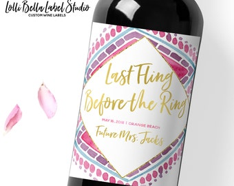 Last Fling Before the Ring Wine Label, Bachelorette Party, Custom Wine Label, Bride Tribe, Future Mrs., Party Decor