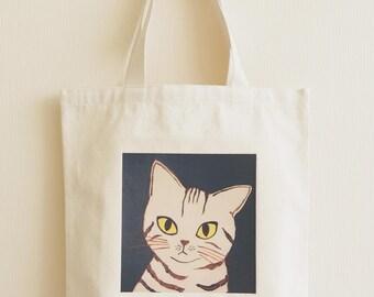 Tote bag, Cat lover gift, Canvas bag, Eco bag, Unique tote, Shoulder bag, Canvas cotton tote, fabric print bag