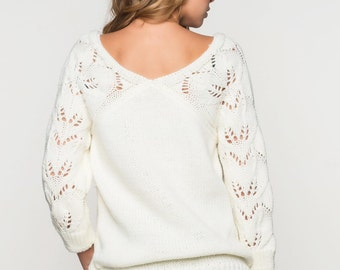 White womens knitted sweater long sleeve Spring sweater openwork Wool sweater Oversized sweater Autumn Sweater Woman Office sweater evening