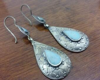 Vintage Afghan Handmade Earrings, Ethnic Tribal Boho Jewelry, Lightweight Earrings, Ear weights