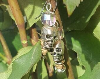 Crystal silver skull gothic earrings