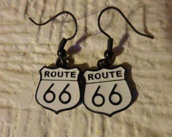 Free Shipping/Route 66 Earrings/Route 66 Jewelry/Historic Route 66 Earrings/Route 66/French Style Hooks/French Earrings