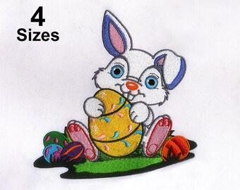 Rabbit Caressing Easter Egg Embroidery Design