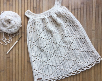 Dress, crochet dress, summer dress for girls, years crocheted beige cotton, size 2-3