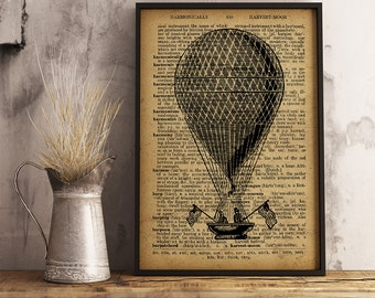Hot Air Balloon Poster, Vintage Hot Air Balloon Art Print, Hot Air Balloon poster, Aircraft art, Weatherman gift, Observations decor (A10)