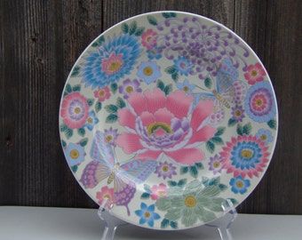 Antique Japanese Famille Rose Porcelain Floral Shallow Plate Hand Painted Handmade Rare Collectibles