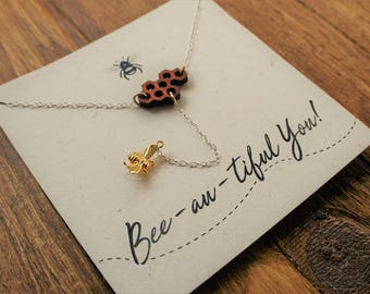 """Sterling Silver Bee necklace """"Bee-au-tiful You!"""" // Necklace with Gold Plated Tiny Bee// Lariat style // Handmade gift//"""