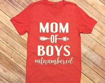 Mom Of Boys out numbered shirt, Boy Mom, Mom Life, Mama of Boys
