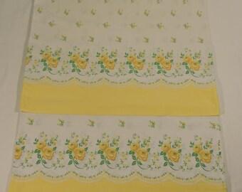 Standard Pillow Case Set Vintage Yellow Floral