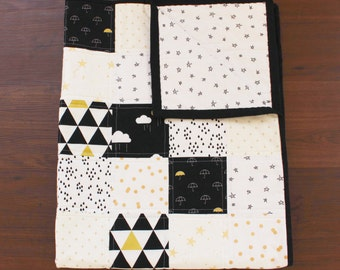 Sky Quilt, baby quilt, star baby quilt, cloud quilt, cloud nursery, star nursery, baby bedding, crib bedding, monochrome nursery, cloud baby