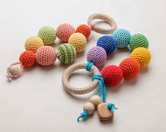 Baby Teething Toy Wooden Baby Teether Wooden Teething Toy Wood Teether Crochet Teether Rainbow Baby Teether Crochet Teething Toy Chew Beads