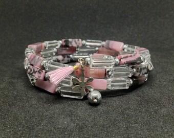 Rhodonite Quartz Crystal memory wire wrap bracelet,cuff bracelet,gemstone,rhodonite jewelry,beads bracelet,gift for her,womens gift,gift
