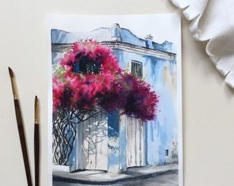 Original Watercolor Painting, Summer Dream, Aquarelle, Greece, Flowers, Pink, Blue,