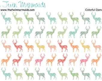 Colorful Damask Deer Planner Stickers