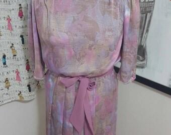 SALE: Vintage Purple Pleated Dress Size M