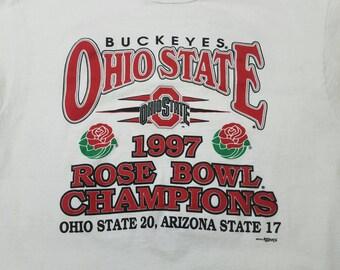 Vtg 1997 Ohio State Buckeyes Rose Bowl History Champions T Shirt | Vintage Retro 90s Commemorative | Mens Womens Large | TUFF