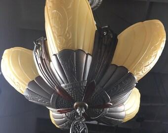 Lincoln Art Deco 5 Light Slip Shade Chandelier