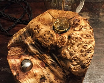 Live Edge Spalted Maple Wood Block Desk Lamp with Burl. Edison Bulb and Telecaster style On/Off switch. Industrial