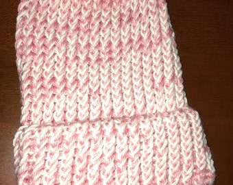 Knitted Pink and White Baby / 1 Year Old Beanie