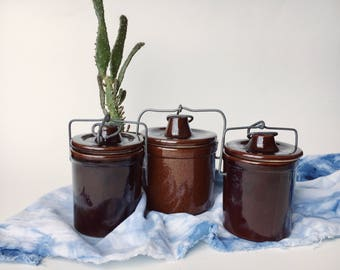 Vintage Set of Three Brown Stoneware Canisters
