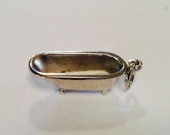 Bath tub sterling silver charm vintage # 504