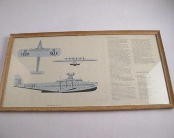 Vintage Milestones of Flight Professionally Framed Lithograph Of Famed Dornier DO X