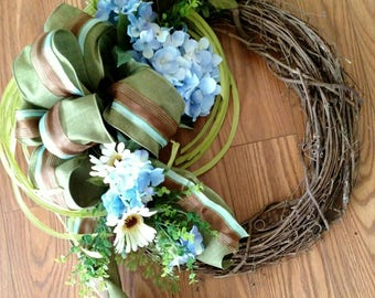 Blue Brown Grape Vine Wreath