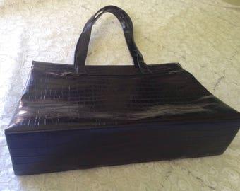 Black textured Italian PVC tote bag
