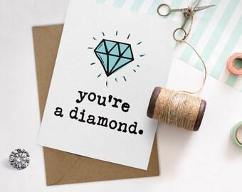 Sweet Valentine Card, Valentines Card, Cute Love Card, Anniversary Card, Diamond Card, Boyfriend Card, Cute Him Card, Girlfriend Card, Rock