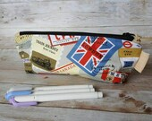 Pencil case | globetrotter gift | zipper pouch | pen bag | union jack | office supplies | back to school | gift for him | air mail