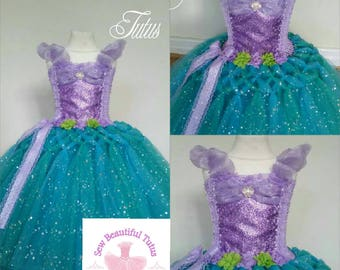 Ariel Sparkle Sparkle Ball Gown Girl tutu dress - Mermaid Sea Fun Party Outfit Cute Birthday Photo Shoot Princess Fairy Tale