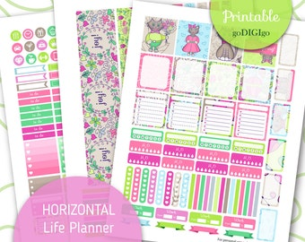 HORIZONTAL WEEKLY printable kit for Erin Condren planner Horizontal spread ECLP weekly planner Diy weekly stickers Cut Files Stickers