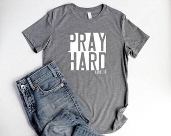 Pray Shirts Christian Women Relaxed T Shirts Christian Pray Shirt Women Breast Cancer Shirts For Women Pray Hard Bible Verse Shirts for Camp
