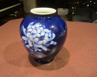Japanese vase, blue cobalt, ginger jar shape vase