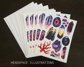 Crystal A6 Notecards Blank 5 Pack Greeting Sympathy Thank you Anniversary Gift Colored Pencil Purple Art Cards by Headspace Illustrations