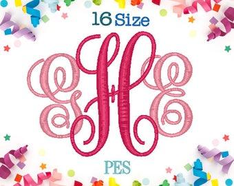16 Sizes Vine Monogram Embroidery Font PES Embroidery Machine,Embroidery Font,Monogram Font,Monogram Initials,Vine Font Monogram