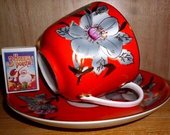 "Old Charming Soviet Large Tea Cup and Saucer ""Malva"". Baranovka USSR 1970s"