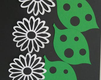 Leaf and flower cut outs,lady bug table decor,birthday,candy table, centerpiece