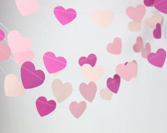 Pinks Hearts Garland Valentines Banner Spring Wedding, Birthday party Bridal Shower Childrens Room Ornaments