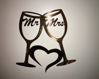 Metal wall art, Plasma cut metal art, Metal Wine glasses wall hanging Mr & Mrs Love with patina finish