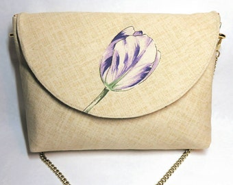 Purple purse - tulip - spring purse - floral bag - flower purse - anniversary gifts - shoulder bag - Fabric purses - fabric handbags