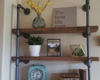 """Pipe Shelving with solid wood plank shelves, 36"""" wide"""
