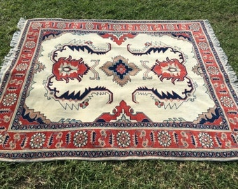 """Hand-Knotted Persian Rug, Geometric Tabriz Rug (Red, Cream, Taupe) 192cm x 167cm (6'3"""" x 5'5"""")"""