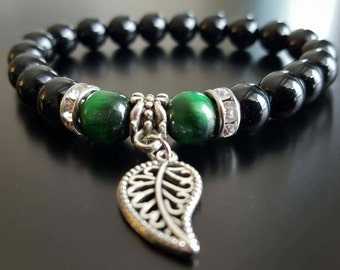 bracelet onyx and green tiger eye 8mm stones/ pierre semi precieuses