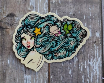 MerFriends 3 Inch Vinyl Sticker (Inspired by the love of friendship, Mermaids and cats!)