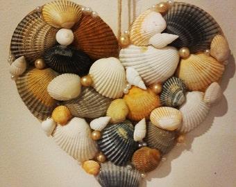 Seashell Heart wall hanging, wall decor, wall art, Birthday Gift, Valentine Gift