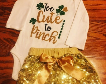 St. Patrick's Day glittery, sparkle onesie or t-shirt. St. Patty's parade boutique style outfit. Shamrock onesie with headband and shorts.