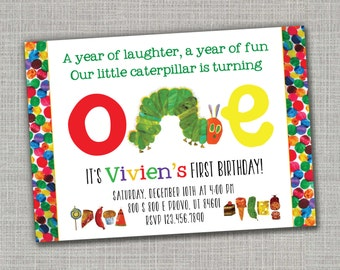 Very Hungry Caterpillar Invitation / Very Hungry Caterpillar Birthday / Very Hungry Caterpillar Birthday